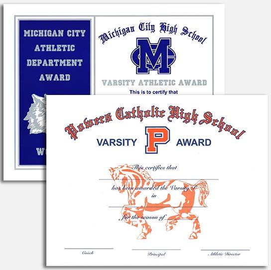 school athletic certificates
